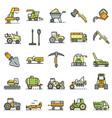 farming equipment icon set line color vector image vector image