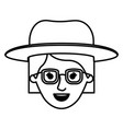 female face with glasses and hat and short vector image vector image