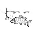 fishing process engraving vector image vector image