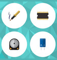 flat icon appliance set of repair microprocessor vector image vector image