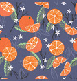 fruit seamless pattern oranges with branches vector image vector image