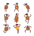 funny cartoon sheep character set brown sheep in vector image vector image