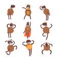 funny cartoon sheep character set brown sheep vector image vector image