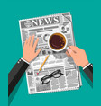 newspaper cup of coffee pencil vector image