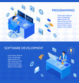 programmers isometric banners vector image vector image