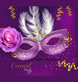 purple ornamented mask card realistic vector image vector image