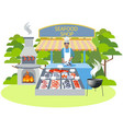 seafood shop food in minimalist style cartoon vector image