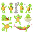 set happy young cartoon turtle in different vector image vector image