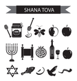 Set icons on the Jewish new year black silhouette vector image vector image