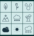 Set of 9 landscape icons includes love flower vector image