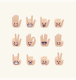 set of gesture human palm with emotion signs vector image vector image