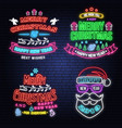 set of merry christmas and happy new year neon vector image vector image