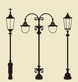 Set of vintage various forged lampposts vector image vector image
