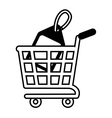 shopping cart online price tag outline vector image vector image