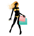 Silhouette of shopping blond girl in bikini2 vector image vector image