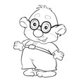 sketch a character a bear wearing glasses vector image vector image
