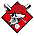 Skull wearing hat and crossed baseball bat vector image vector image