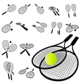 tennis racket silhouette vector image vector image