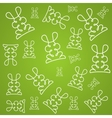Texture background in linear design with rabbits vector image vector image