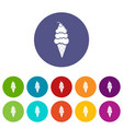 vanilla ice cream icons set color vector image vector image