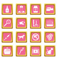 veterinary icons pink vector image vector image