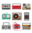 vintage audio music and sound recorders set vector image vector image