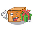 with gift caramel candies mascot cartoon vector image vector image