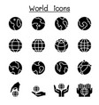 world earth icon set vector image vector image