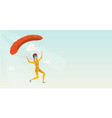 young caucasian skydiver flying with a parachute vector image vector image