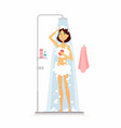 young woman taking a shower - cartoon people vector image