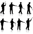 Set black silhouettes Police officer with a rod vector image