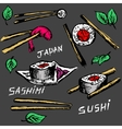 Sushi rolls flat food and japanese seafood sushi vector image