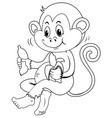 animal outline for monkey eating banana vector image vector image