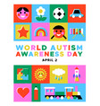 autism awareness day kid toy mosaic icon card vector image vector image