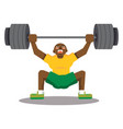 black man doing snatch with weights on white vector image