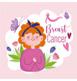 breast cancer young cartoon woman with ribbon vector image vector image