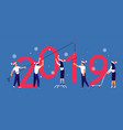 building a numbers 2019 vector image vector image