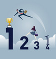 business people jumping over bar charts vector image