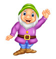 cartoon happy dwarf waving vector image vector image