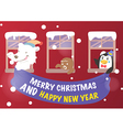 Christmas and New Year greeting card vector image vector image