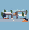 cold or dirty city scene with people coughing vector image