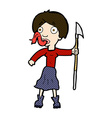 comic cartoon woman with spear sticking out tongue vector image vector image