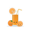 cute kawaii smiling cartoon orange juice vector image vector image