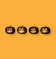 dark cute halloween pumpkins isolated on orange vector image