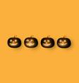 Dark cute halloween pumpkins isolated on orange