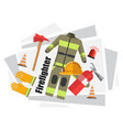 firefighter uniform with helmet and gloves vector image vector image