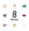 flat icon amour set of gift ring sexuality vector image vector image