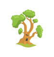 green tree with surprised face expression natural vector image