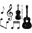 grunge music elements vector image vector image
