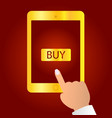 hands holding a tablet with buy now icon vector image